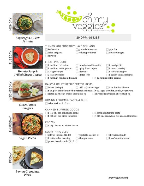 Vegetarian Meal Plan & Shopping List - 04.14.14