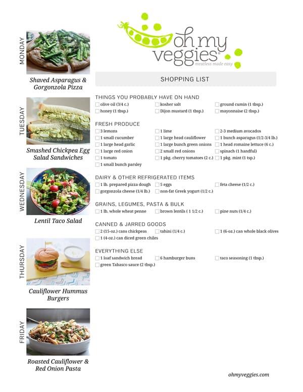 Vegetarian Meal Plan & Shopping List - 05.05.14