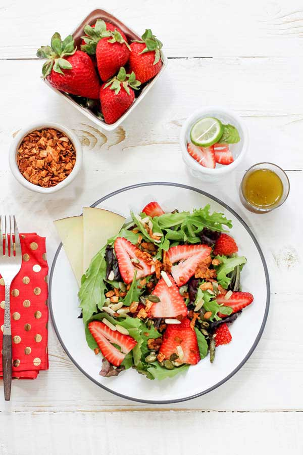 Strawberry Salad with Coconut Bacon & Black Pepper Vinaigrette