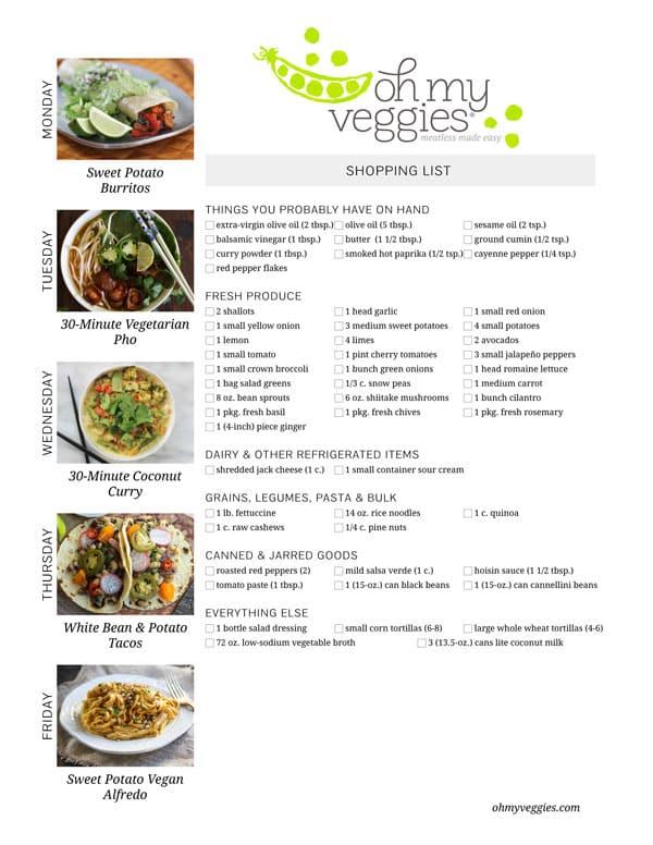 Vegetarian Meal Plan & Shopping List - 05.12.14