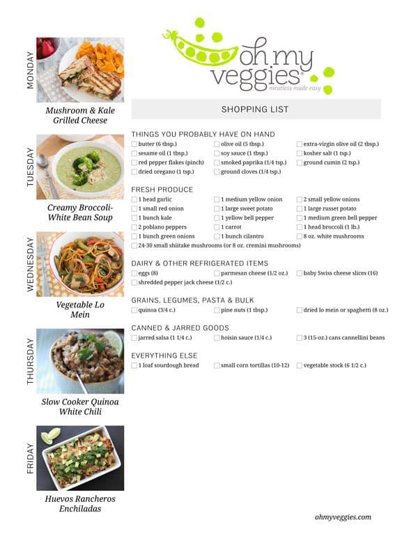 Vegetarian Meal Plan & Shopping List - 05.19.14