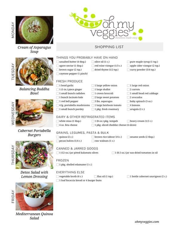 Vegetarian Meal Plan & Shopping List - 05.26.14