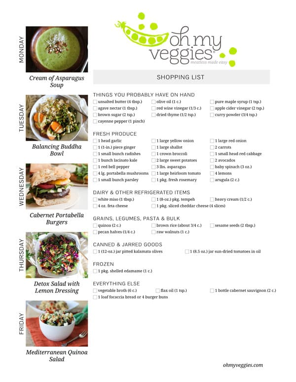 Vegetarian Meal Plan & Shopping List - 05.26.14