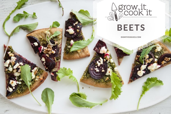 Beet Green Pesto Pizza with Roasted Beets & Goat Cheese