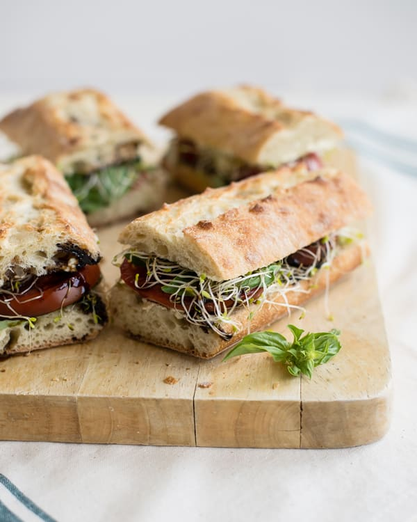 Caprese Sandwiches with Garlic Cashew Cheese