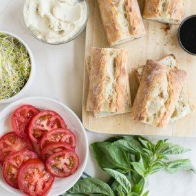 Vegan Caprese Sandwiches with Garlic Cashew Cheese Recipe