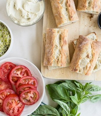 Vegan Caprese Sandwiches with Garlic Cashew Cheese Recipe