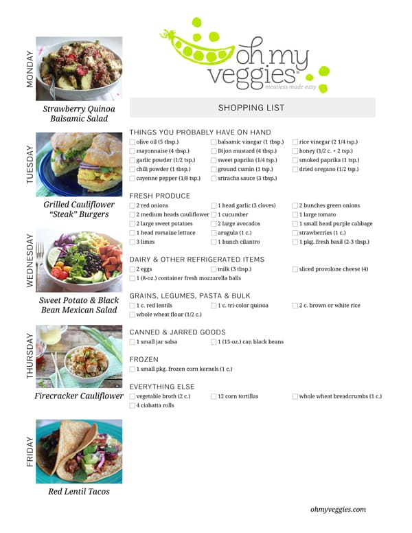 Vegetarian Meal Plan & Shopping LIst - 06.23.14