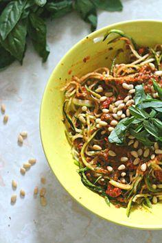 Zucchini Pasta with Two-Tomato Pesto