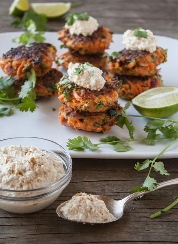 Carrot Fritters with Cumin-Lime Cashew Cream