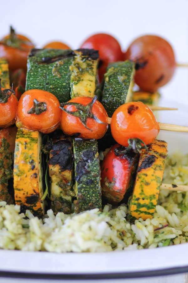 Chermoula Veggie Kebabs with Halloumi
