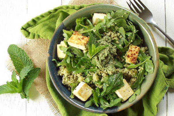 Mint Pesto Couscous with Tofu and Arugula