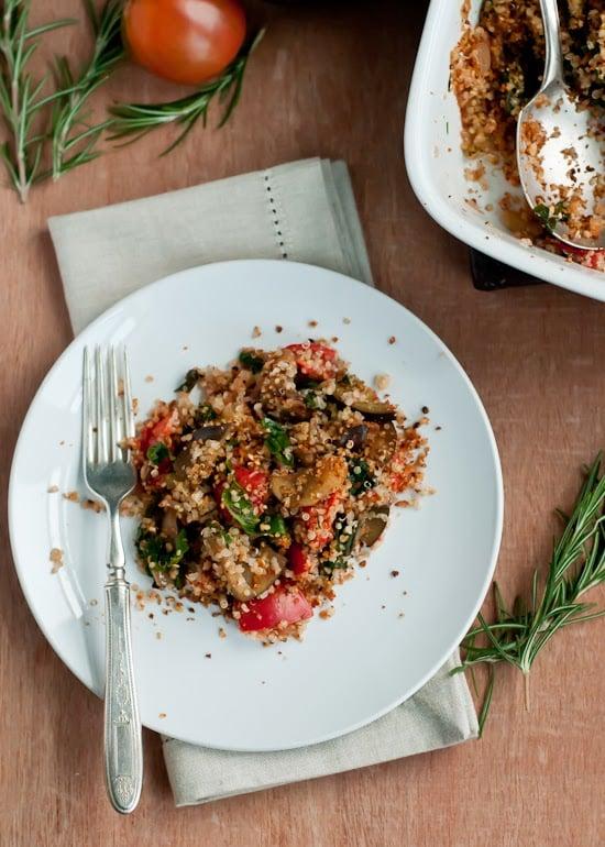 Eggplant, Chard & Tomato Quinoa Gratin