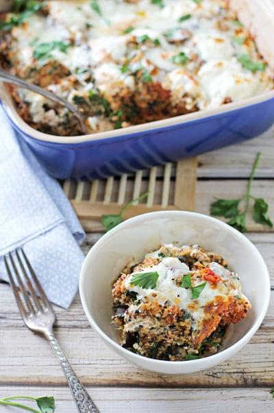 Eggplant Rollatini Quinoa Casserole