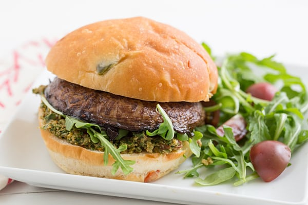 Portabella Burgers with Sun-Dried Tomato Pesto