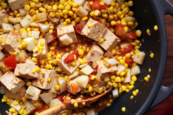 spicy curried kohlrabi, corn, and tofu stir fry 9