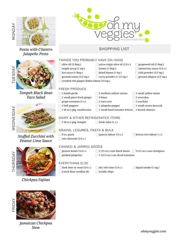 Vegetarian Meal Plan & Shopping List - 09.08.14