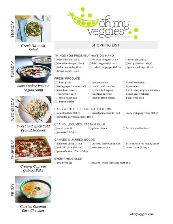 Vegetarian Meal Plan & Shopping List - 09.15.14