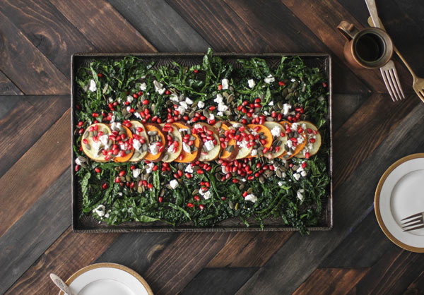 Roasted Sweet Potato, Pomegranate, and Massaged Kale Salad