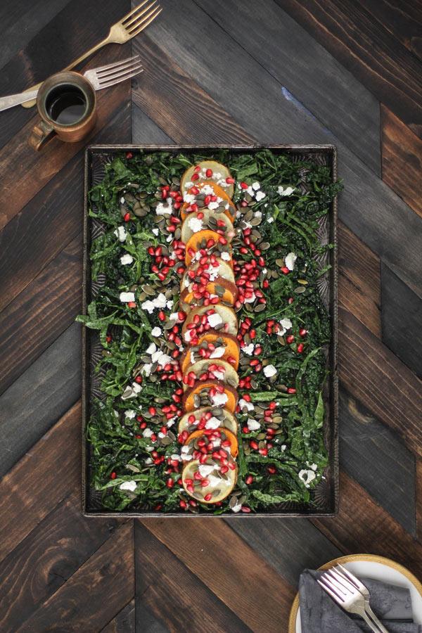 Roasted Sweet Potato, Pomegranate, and Massaged Kale Salad
