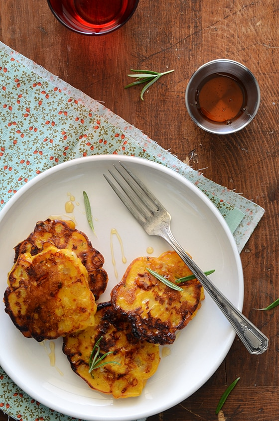 Pumpkin Cheddar Pancakes with Rosemary