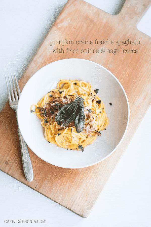 Pumpkin Crème Fraîche Spaghetti