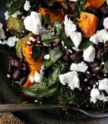 smoky butternut squash and black bean kale salad