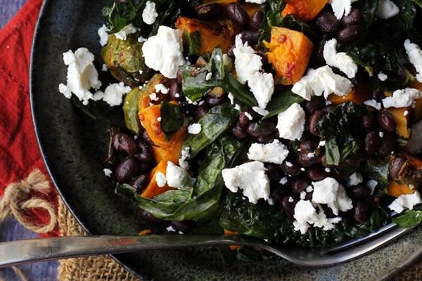 smoky butternut squash and black bean kale salad