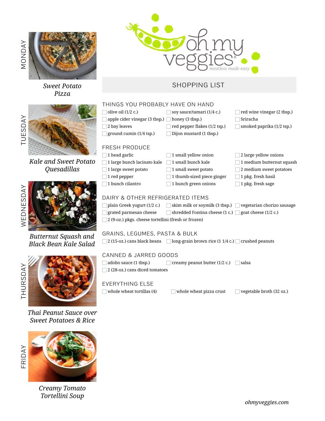 Vegetarian Meal Plan & Shopping List - 10.13.14