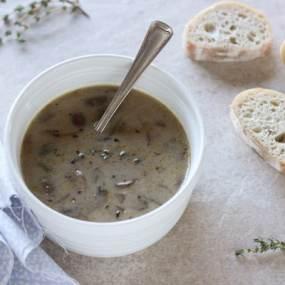 Creamy Mushroom + Roasted Garlic Soup