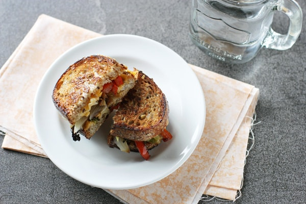 Roasted Broccoli and Red Pepper Grilled Cheese