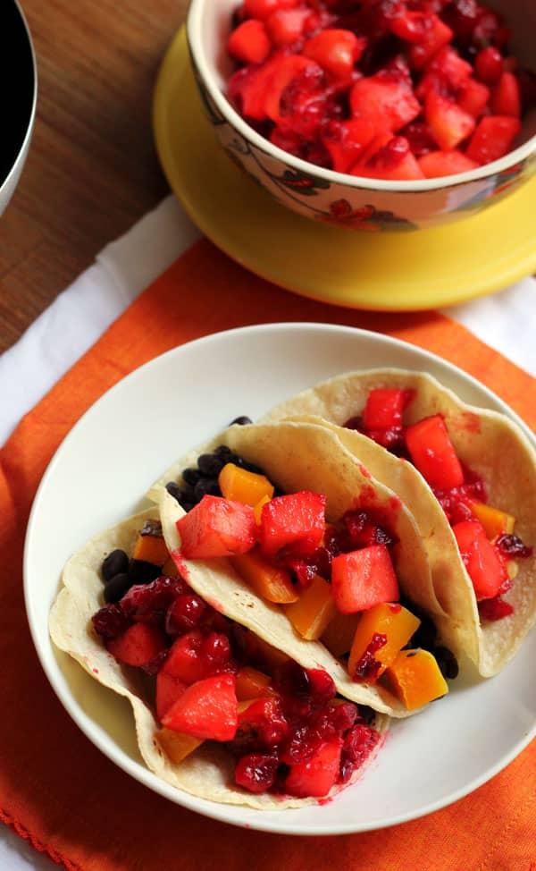 Butternut Squash Tacos with Cranberry-Jalapeño Relish