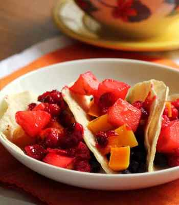 Butternut Squash Tacos with Cranberry-Jalapeño Relish | OhMyVeggies.com