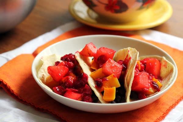 Butternut Squash Tacos with Cranberry-Jalapeño Relish | OhMyVeggies.com