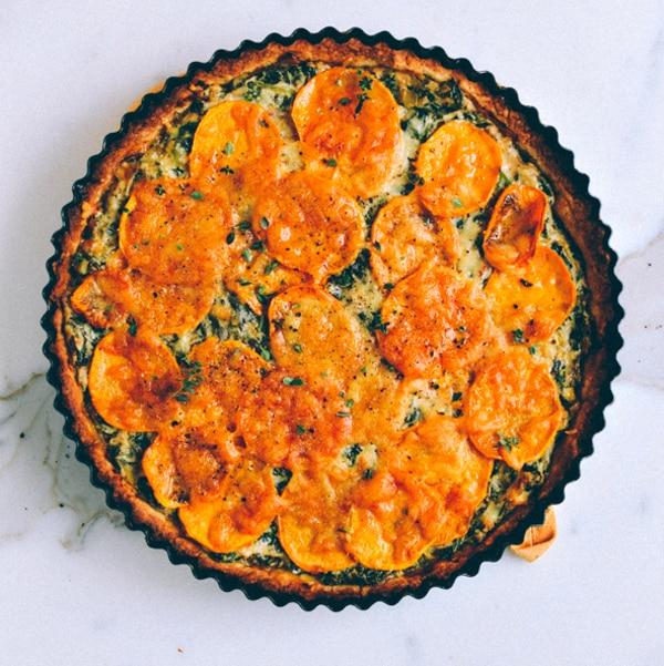 Main Dish For A Potluck Part - 45: Cheesy Kale Sweet Potato Tart