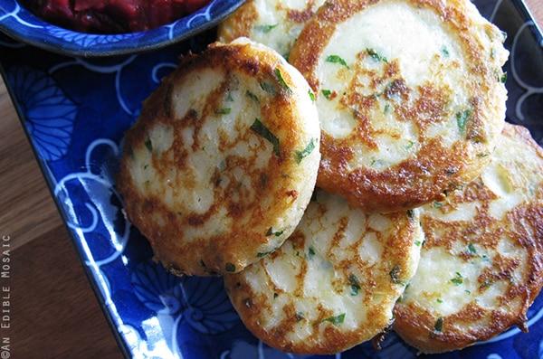 Garlicky Mashed Potato Pancakes