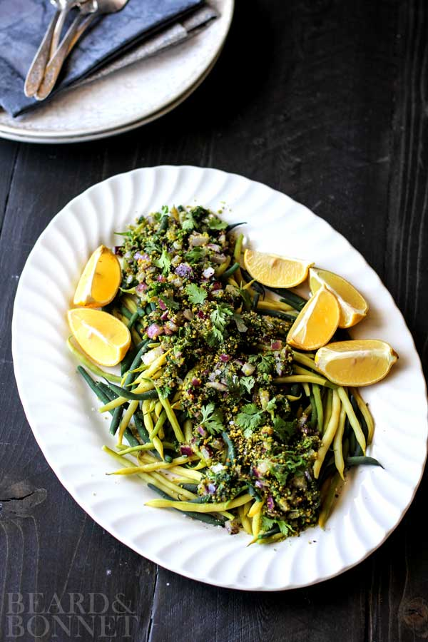 Green Beans with Red Onion, Pistachios & Herbs