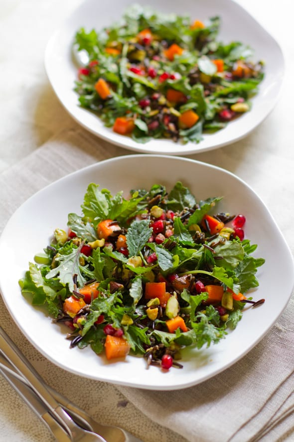 Pomegranate, Persimmon and Pistachio Wild Rice Salad