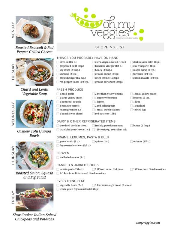 Vegetarian Meal Plan & Shopping List - 11.10.14