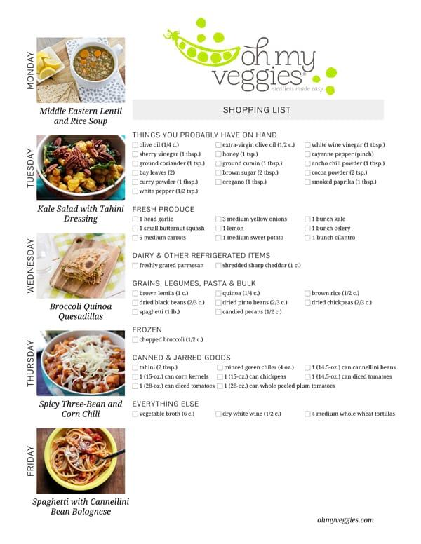 Vegetarian Meal Plan & Shopping List - 11.17.14