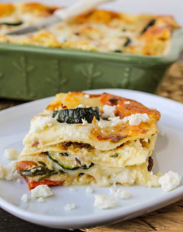 Poblano, Corn and Zucchini Lasagna