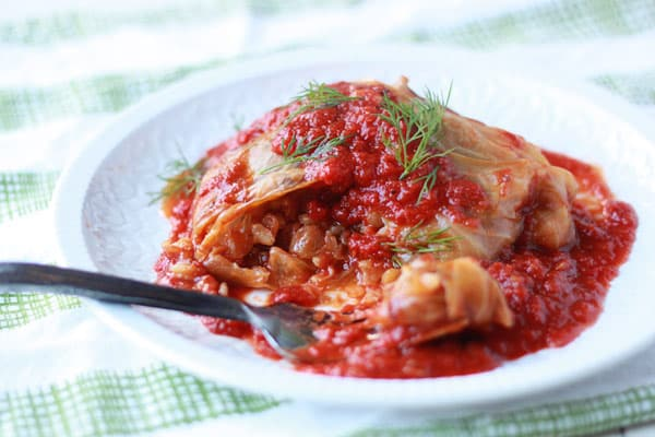 Slow Cooker Mushrooom-Lentil Stuffed Cabbage Rolls