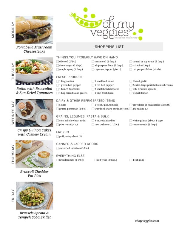 Vegetarian Meal Plan & Shopping List - 01.12.15