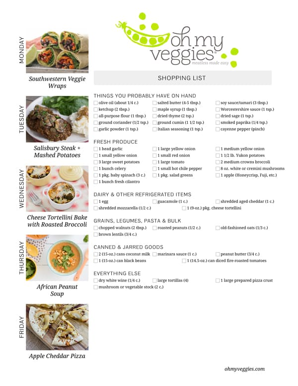 Vegetarian Meal Plan & Shopping List - 02.20.15