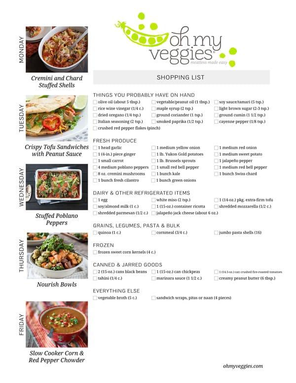 Vegetarian Meal Plan & Shopping List - 03.02.15