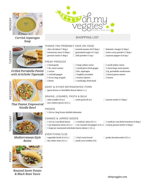 Vegetarian Meal Plan & Shopping List - 03.16.15