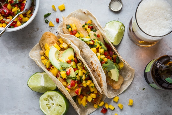 Beer-Battered Tofu Tacos with Mango Salsa Recipe