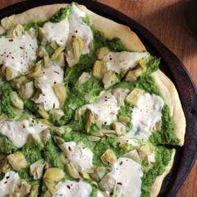 Spring Pizza with Lemony Pea Pesto and Artichoke Hearts