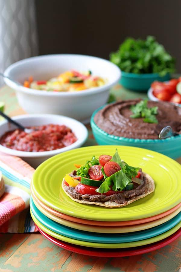 Slow Cooker Smoky Refried Black Beans + Self-Serve Tostadas