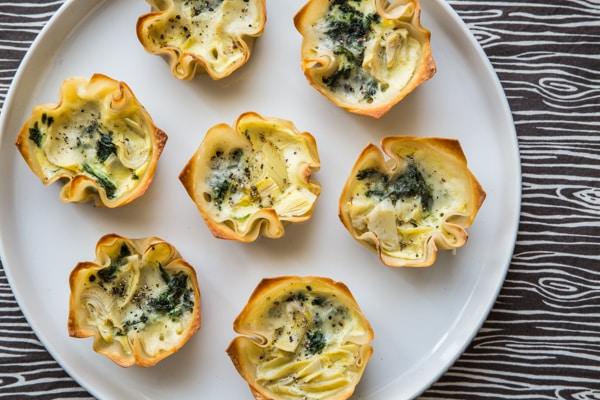 Spinach Artichoke Mini Quiches with Crispy Wonton Crusts Recipe